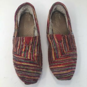 Toms Sweater Knit Faux Fur Lined Slip On Shoes
